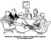 Businesswoman bringing shopper request to team