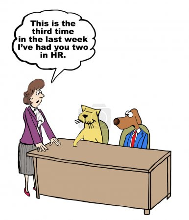 "Illustration for ""Cartoon of HR businesswoman with misbehaving dog and cat."" - Royalty Free Image"