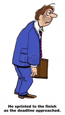 Illustration pour Caricature d'un homme d'affaires fatigué approchant de la fin du projet - image libre de droit