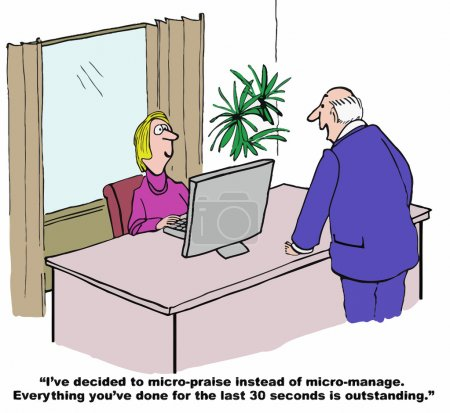 Cartoon of businessman, is going to have micro-praise.