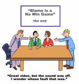 Cartoon of business people playing the blame game