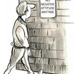 Cartoon illustration Negative Attitude sign...