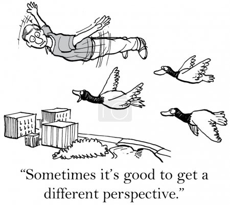 """Illustration for """"Sometimes it's good to get a different perspective."""" - Royalty Free Image"""