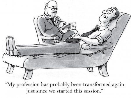 """Illustration for """"My profession has probably been transformed again just since we started this session."""" - Royalty Free Image"""