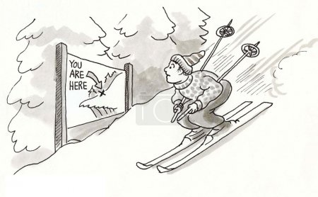 Illustration pour Skieur est dans la zone de danger. illustration de dessin animé - image libre de droit