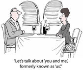 Cartoon of husband and wife at dinner