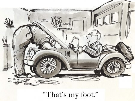 """Illustration for """"That's my foot."""" Sports car, cartoon illustration - Royalty Free Image"""