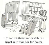 Man watching his heart at rate monitor