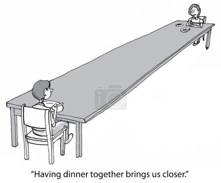 """Illustration for """"Having dinner together brings us closer."""" - Royalty Free Image"""