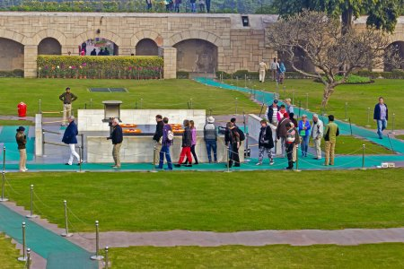 Visitors at Mahatma Gandhi memorial