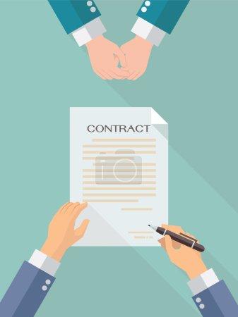 Illustration pour Businessman main signer feuille de papier contrat d'affaires après accord, design plat à la mode avec ombre, vue du dessus . - image libre de droit
