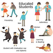 Educated students in many characters man and woman walking with friend learning in laboratory reading and graduation cap and diploma Simple design