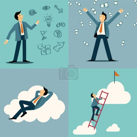 Illustration for Businessman in various character, with idea and vision sketching icons, money, happiness on cloud, and with step on ladder to be success. - Royalty Free Image