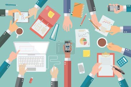 Illustration pour Les mains d'homme d'affaires avec diverses poses, tenant, pointant, présentant, écrivant, dans une réunion ou une conférence d'affaires très occupée . - image libre de droit