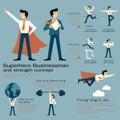 Character cartoon set of superhero businessman with in strength concept be strong winning powerful man flying hign concentration and get over the obstacle Flat design