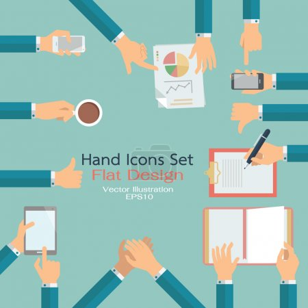 Illustration for Flat design of hand icons set. Business concept of hand in many characters, presenting, showing, using tablet and smart phone, writing, thumb up and down, open book, applauding, and holding coffee. - Royalty Free Image