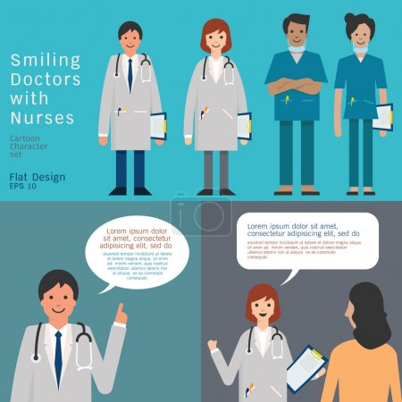 Illustration for Set of medical team, doctors and nurse. And doctors giving advice and consultant. Simple character with flat design. - Royalty Free Image
