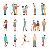 People in various lifestyles businessman woman teenager traveller friends sport woman hip hop guy senior couple lovers Character set with flat design style