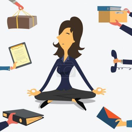 Illustration pour Femme d'affaires faisant du Yoga pour calmer l'émotion stressante de multi-tâches et de travail très occupé . - image libre de droit