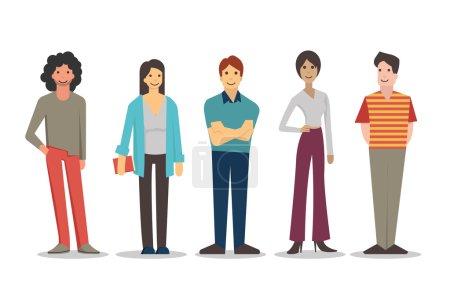 Illustration pour Personnages de dessin animé des jeunes dans le mode de vie divers, restant et souriant dans des robes occasionnelles. Conception plate, d'isolement sur le blanc. - image libre de droit