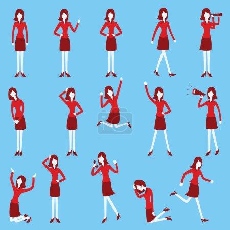 Illustration pour Jeu de caractères de bande dessinée de femme d'affaires dans diverses poses, design plat à la mode avec un style simple . - image libre de droit