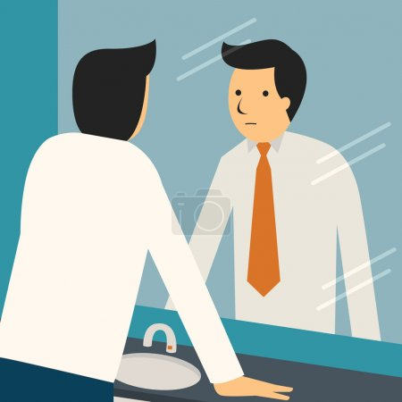 Illustration for Businessman looking at himself in mirror to encourage and find himself confident. - Royalty Free Image