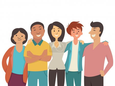 Vector character flat design of diverse happy people, teenager, muti-ethnic, smiling and joyful together.