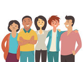 Vector character flat design of diverse happy people teenager muti-ethnic smiling and joyful together
