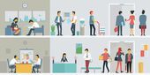 Flat design of bussiness people or office workers in interior building various characters actions and activities