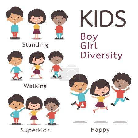 Illustration for Cute character set of kids, boy, girl, diversity. Flat design. - Royalty Free Image