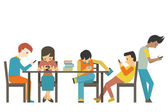 Group of student at teen age using smartphone in concept of smart phone addiction Flat design