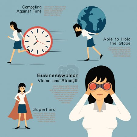Illustration for Character of Businesswoman in concept of vision and strength, superhero. Flat design in simple design. - Royalty Free Image
