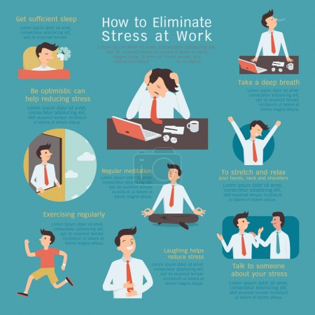 Illustration for Infographics of how to eliminate or reduce stress at workplace. Simple character with flat design. - Royalty Free Image