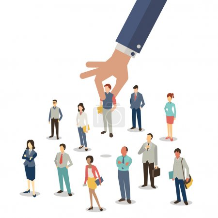 Illustration for Businessman hand picking up selected man from group of businesspeople. Recruitment concept. Flat design. - Royalty Free Image