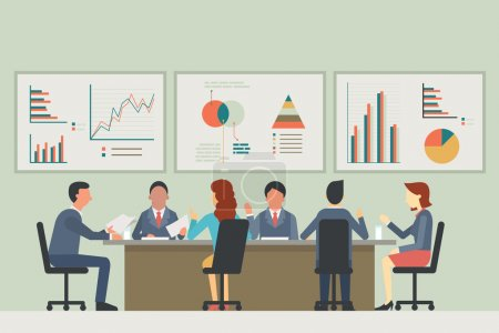 Illustration for Businesspeople, man and woman, talking, discussing in meeting room. With chart and graph statistics background. Diverse, muilti-ethnic, flat design. - Royalty Free Image
