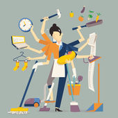 Vector illustration in super mom concept many hands working with very busy business and housework part feeding baby cleaning house cooking doing washing working with laptop Flat design