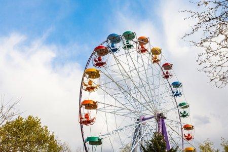 Booths old Ferris wheel closeup