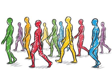 Illustration pour Illustration avec un groupe de personnes marchant - image libre de droit