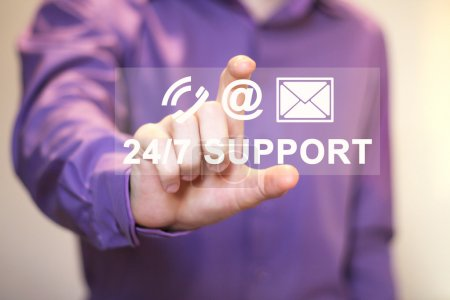 Business button web 24 hours support sign