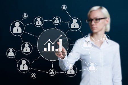 Woman with chart sign web diagram business icon