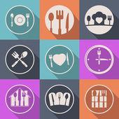 Vektorové kuchyně ikonu potravin