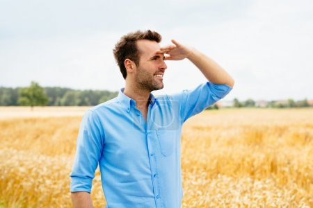 man looking into distance