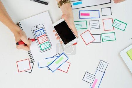 designer working on  website
