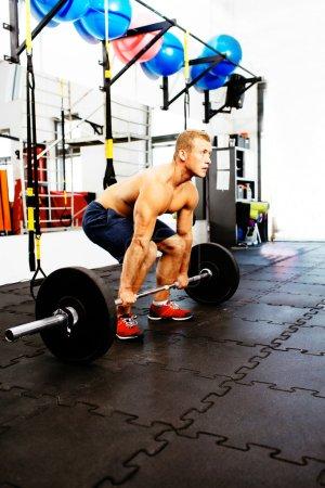 Athlete practicing deadlift