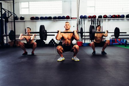 men at gym training