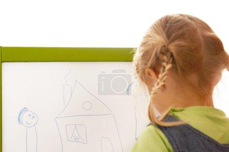 Photo pour Dessin d'enfant sur fond blanc sur la planche - image libre de droit