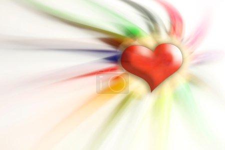 Photo pour Coeur rouge sur fond de crayons flous - image libre de droit