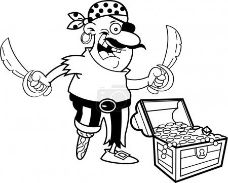 Black and white illustration of a pirate with a tr...