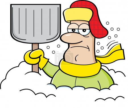 Cartoon man buried in snow and holding a shovel.