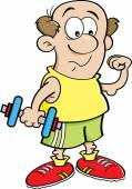 Cartoon illustration of a weak man holding a dumbbell and making a muscle